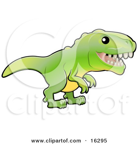 Baby Green T-Rex Dinosaur With Dull Teeth Clipart Illustration Image by AtStockIllustration