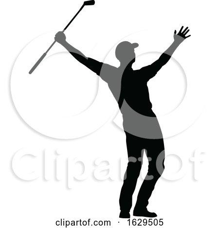 Golfer Golf Sports People Silhouette Set by AtStockIllustration