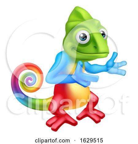 Chameleon Cartoon Lizard Character Pointing by AtStockIllustration