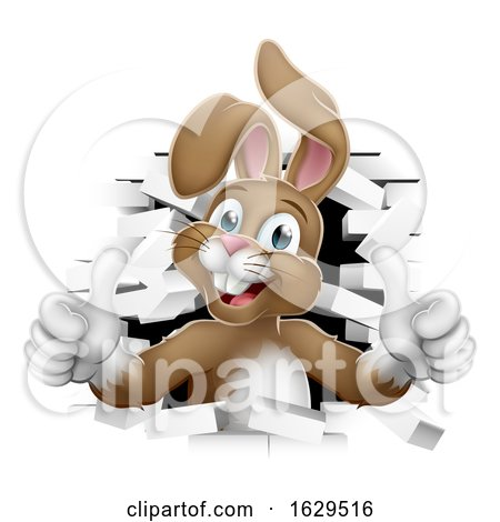 Easter Bunny Thumbs up Coming out of Background by AtStockIllustration