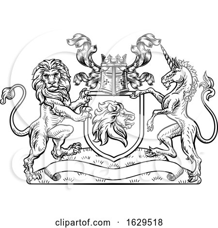 Lion Unicorn Crest Heraldic Shield Coat of Arms by AtStockIllustration