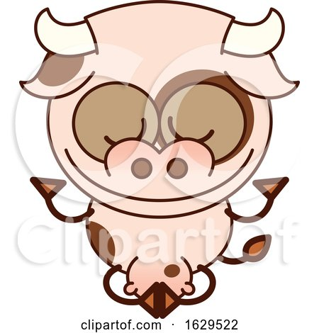 Cartoon Zen Cow Meditating in the Lotus Pose by Zooco