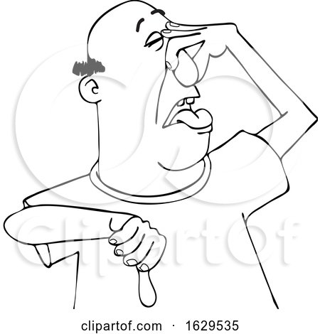 Cartoon Black and White Man Plugging His Nose to Avoid a Stinky Smell and Giving a Thumb down by djart