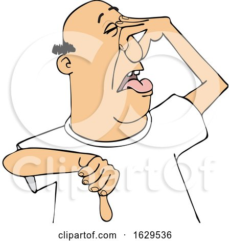 Cartoon White Man Plugging His Nose to Avoid a Stinky Smell and Giving a Thumb down by djart
