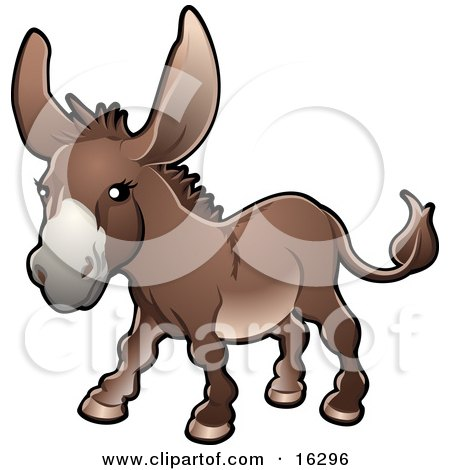 Brown Donkey (Equus asinus) on a Farm Clipart Illustration Image by AtStockIllustration