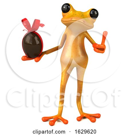 3d Yellow Frog, on a White Background by Julos