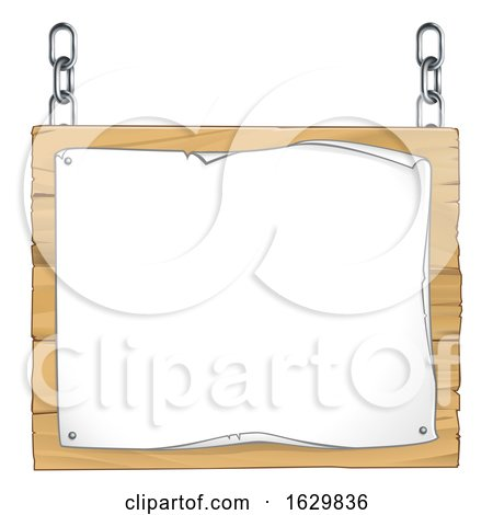 Scroll Wooden Sign Hanging from Chains by AtStockIllustration