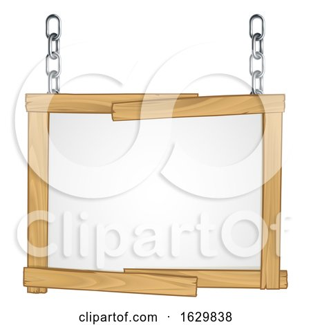 Wooden Frame Sign Hanging from Chains by AtStockIllustration
