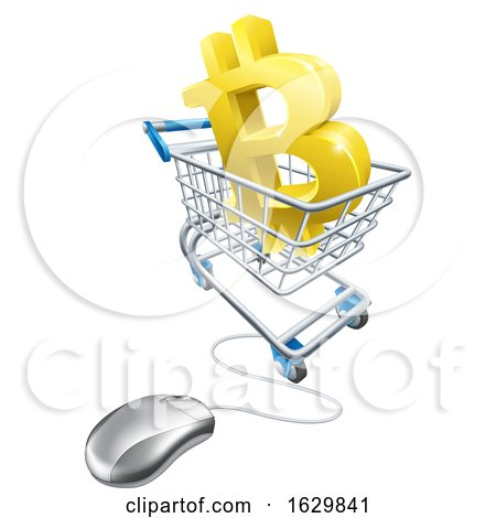 Bitcoin Computer Mouse Shopping Cart Concept by AtStockIllustration