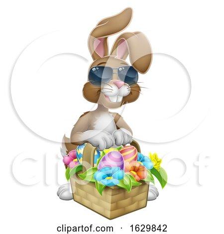 Easter Bunny in Shades Rabbit Eggs Hunt Cartoon by AtStockIllustration
