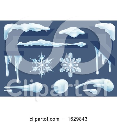 Frozen Icicles Ice and Snow Winter Design Elements by AtStockIllustration