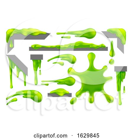Slime Green Goo Messy Blobs Splats Drips and Drops by AtStockIllustration
