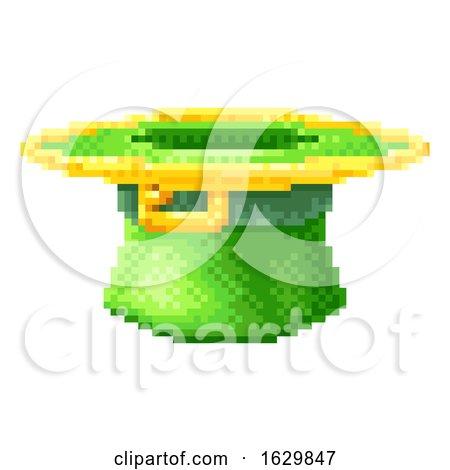 Leprechaun Hat St Patricks Day Pixel Art Icon by AtStockIllustration