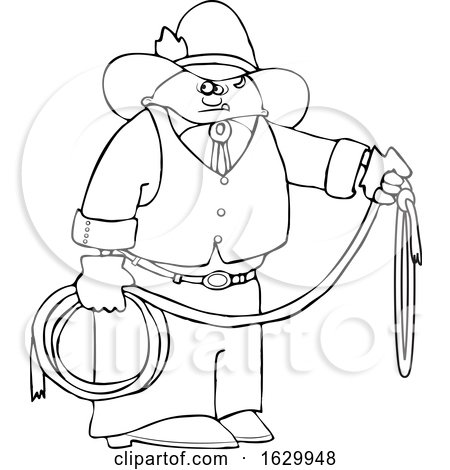 Cartoon Black and White Cowboy Holding a Lariat Rope by djart