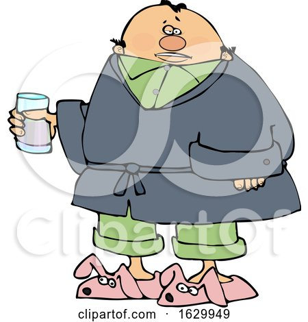 Cartoon Sick Man Wearing Bunny Slippers and Holding a Glass by djart