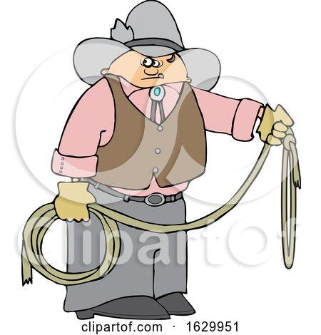 Cartoon Cowboy Holding a Lariat Rope by djart