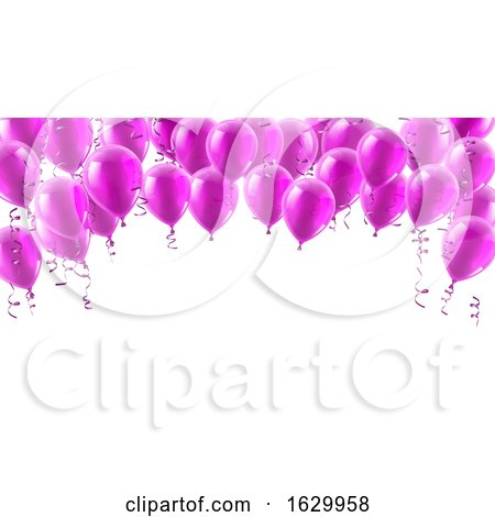 Pink Party Balloons Background by AtStockIllustration