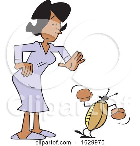 Cartoon Black Woman with a Bug Problem by Johnny Sajem