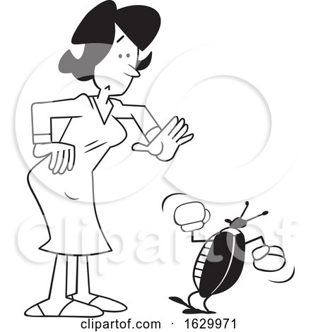 Cartoon Black and White Woman with a Bug Problem by Johnny Sajem