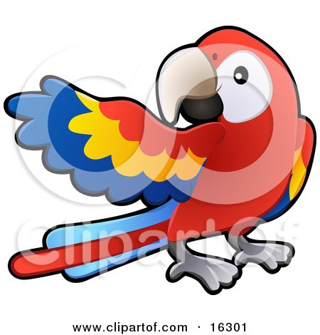 Red, Yellow And Blue Scarlet Macaw Parrot Bird (Ara Macao) With A White Circle Around Its Eye Clipart Illustration Image by AtStockIllustration