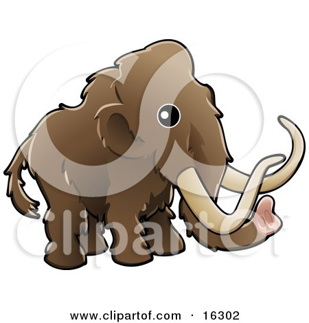 Baby Brown Woolly Mammoth, Also Known As The Tundra Mammoth (Mammuthus Primigenius) With Long Tusks Clipart Illustration Image by AtStockIllustration