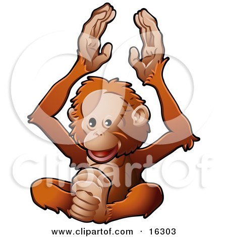 Happy Orangutan Monkey Clapping His Hands And Feet  Posters, Art Prints