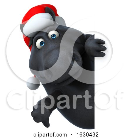 3d Chubby Black Christmas Horse, on a White Background by Julos