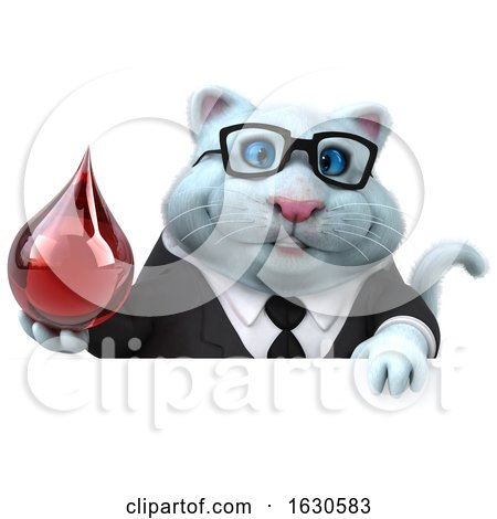 3d White Business Kitty Cat, on a White Background by Julos