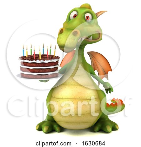 3d Green Dragon, on a White Background by Julos