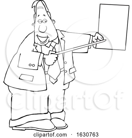 Cartoon Black and White Business Man Pointing to a Piece of Paper by djart
