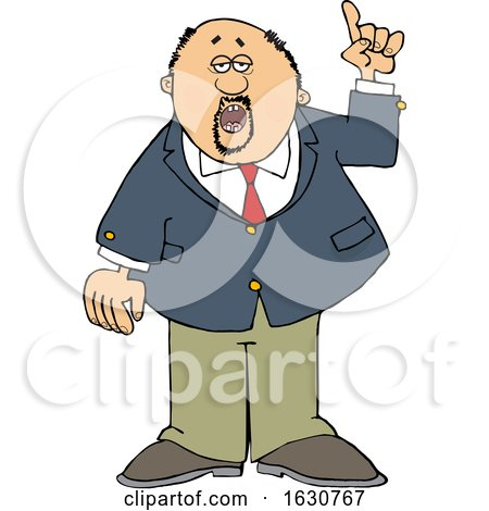 Cartoon Business Man Holding up a Finger and Talking by djart