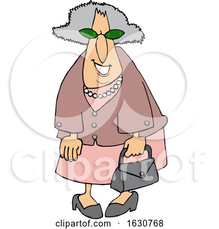 Cartoon Smiling Stylish Granny Dressed in Pink by djart