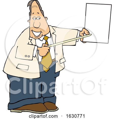 Cartoon White Business Man Pointing to a Piece of Paper by djart