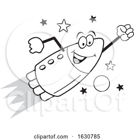 Cartoon Grayscale Happy Rocket Mascot Character Flying by Johnny Sajem