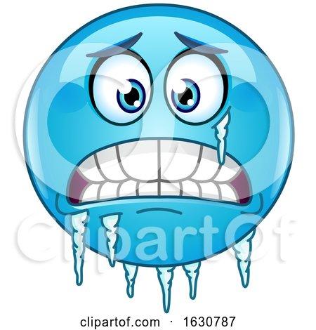 Cartoon Freezing Blue Emoji Emoticon with Ice by yayayoyo