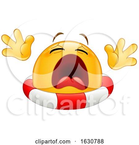 Cartoon Yellow Emoji Emoticon Drowning with a Life Buoy by yayayoyo