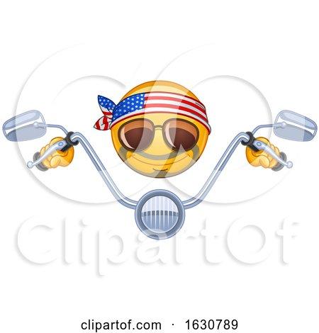 Cartoon Yellow Emoji Emoticon Biker with Handle Bars Posters, Art Prints