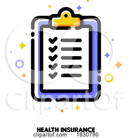 Icon of Clipboard with Checkmarks for Health Insurance Claim Form Concept by elena