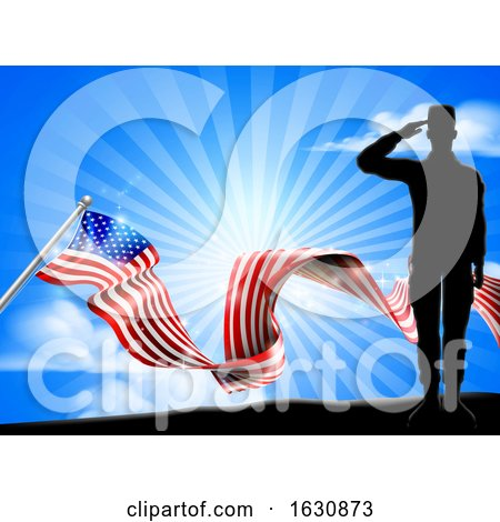 American Flag Patriotic Soldier Salute Background by AtStockIllustration