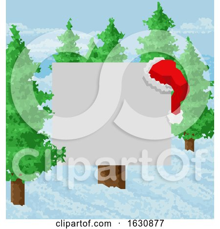 Christmas Snow Santa Hat Abstract Geometric Sign by AtStockIllustration