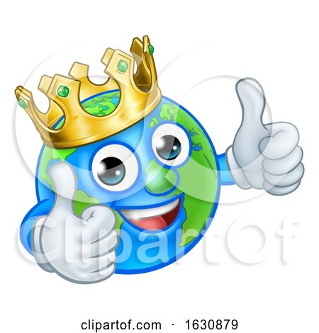 King Earth Globe World Mascot Cartoon Character by AtStockIllustration