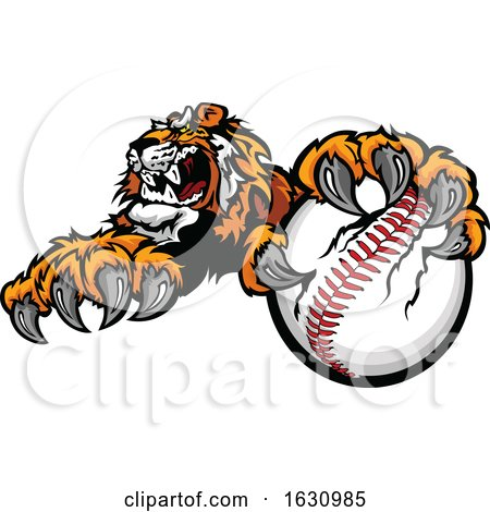 Vicious Tiger Mascot Grabbing a Baseball by Chromaco