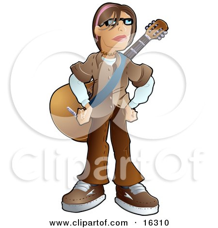 Teenage Caucasian Emo Boy Wearing A Brown Clothes And Standing With A Guitar Strapped Around His Chest  Posters, Art Prints