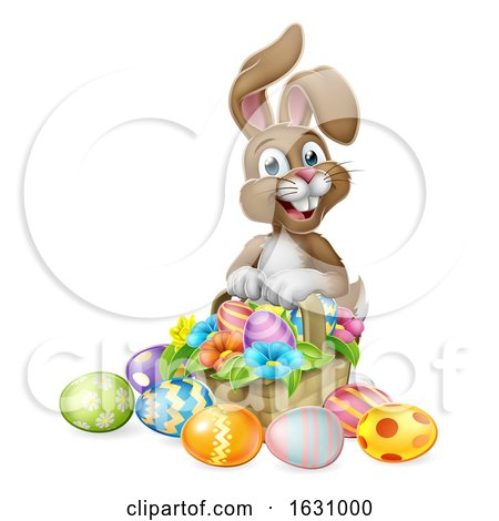 Easter Bunny Rabbit Eggs Hunt Basket Cartoon by AtStockIllustration