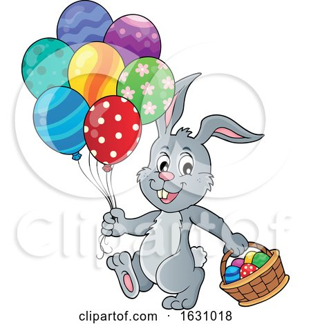 Easter Bunny with a Basket and Balloons by visekart