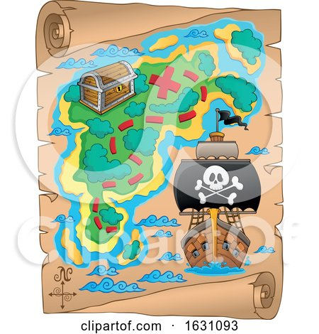 Pirate Ship on a Treasure Map by visekart