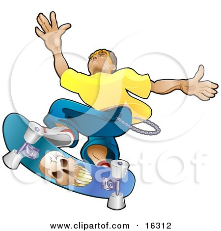 Teenage Caucasian Skater Boy Catching Air On A Blue Skateboard With A Skull On The Bottom  Posters, Art Prints