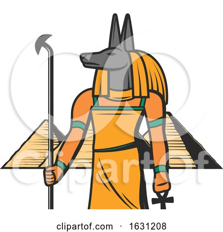Egyptian Anubis and Pyramids by Vector Tradition SM