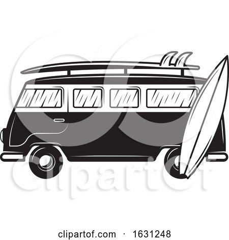 Black and White Kombi Van and Surfboards Posters, Art Prints