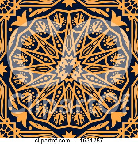 Seamless Orange Arabic or Islamic Design Background on Navy Blue by Vector Tradition SM